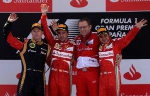 El piloto español Fernando Alonso (Ferrari) ganó este domingo el Gran Premio de España de Fórmula 1 en el circuito de Montmeló, cerca de Barcelona, imponiéndose al finlandés Kimi Räikkönen (Lotus) y a su compañero de equipo el brasileño Felipe Massa. AFP