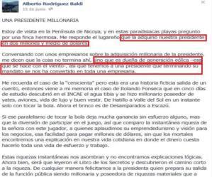 Este fue el comentario en la red social Facebook que publicó el empresario hacia la presidenta Laura Chinchilla