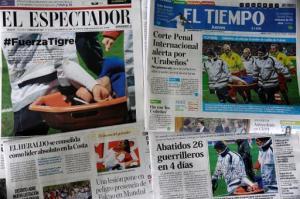 Portadas de la edición del 23 de enero de 2014 de varios diarios de Colombia (AFP