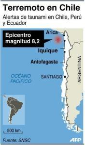 Localización del epicentro del fuerte sismo en Chile (AFP