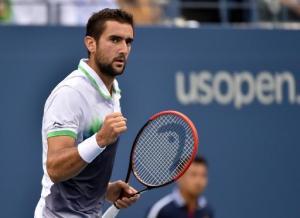 El croata Marin Cilic celebra un punto en la final del US Open ante el japonés Kei Nishikori, el 8 de septiembre de 2014, en Nueva York (AFP