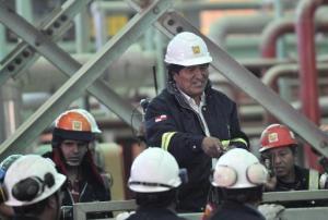 El pesidente de Bolivia, Evo Morales, durante la inauguración de una planta industrial en Potosí, el 10 de setiembre de 2014 (AFP