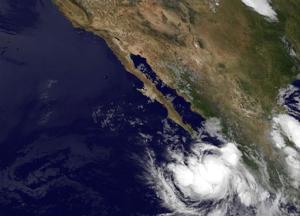 Imagen satelital de la NASA del huracán Norbert del 3 de setiembre de 2014 (NASA/AFP