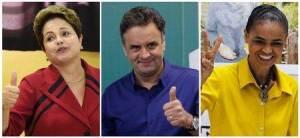 Imagen que combina las fotografías de los principales candidatos a la presidencia de Brasil saludando al momento de llegar a votar.