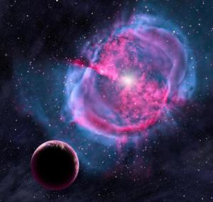 """En esta concepción artística provista por el Centro de Astrofísica Harvard-Smithsonian se ve un planeta parecido a la Tierra orbitando una estrella que ha formado una """"nébula planetaria"""". La Tierra tiene algunos hermanos gemelos muy similares que residen fuera de nuestro sistema solar, lo que promete posibilidades en la búsqueda de vida extraterrestre, informó la NASA el martes 6 de enero de 2015. (Foto AP"""